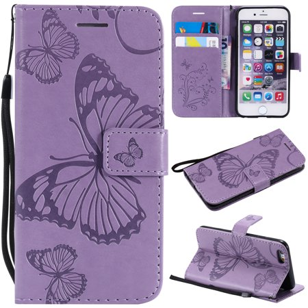 90ab266cbe20 iPhone 6 Plus/ 6S Plus Wallet case, Allytech Pretty Retro Embossed  Butterfly Flower Design PU Leather Book Style Wallet Flip Case Cover for Apple  iPhone 6 ...