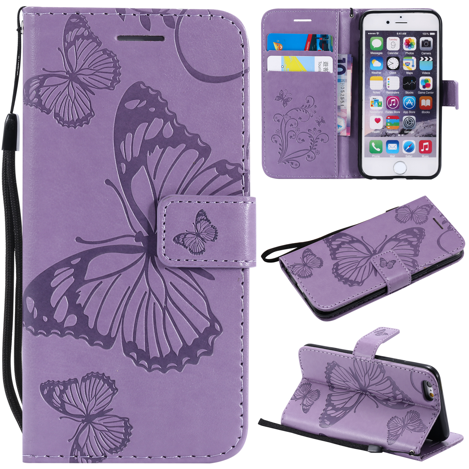 iPhone 6 Plus/ 6S Plus Wallet case, Allytech Pretty Retro Embossed Butterfly Flower Design PU Leather Book Style Wallet Flip Case Cover for Apple iPhone 6 Plus and iPhone 6S Plus, Purple