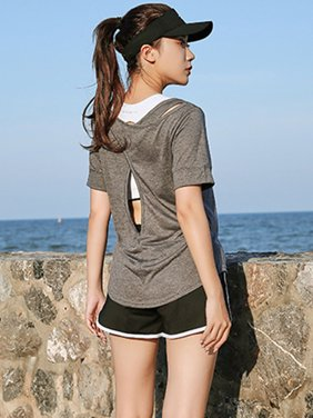 LELINTA Women Activewear Running Workouts Yoga Sport Open back Tops Blouse Women Quick Dry Slim Fit Sport Shirt, Grey
