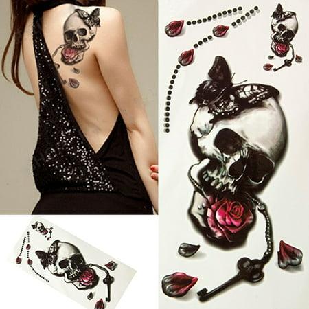 Tiger Butterfly Tattoo (Girl12Queen Halloween 3D Skull Rose Butterfly Waterproof Temporary Body Tattoo)