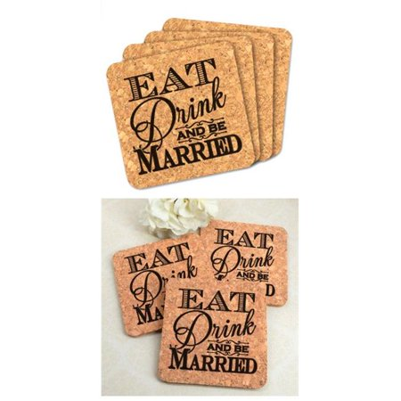Wedding Favor Coasters (Ducky Days 8407181 4 x 4 in. Eat Drink & Be Married Square Cork Coaster Wedding Favors - Set of)