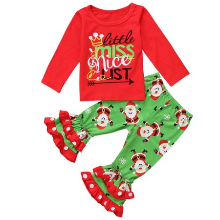 Baby Girls Christmas Outfits Long Sleeve Miss Little Nice List T-shirt With Ruffle Pant 6-12 Months (Nice Everyday Outfits)