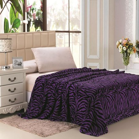 Super Soft Printed Luxurious Coral Fleece Warm Bed / Throw Blanket - Full Size - Purple zebra