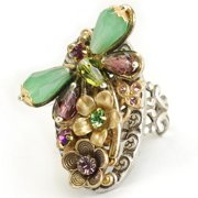 Sweet Romance  Dragonfly Bead and Crystal Vintage Ring
