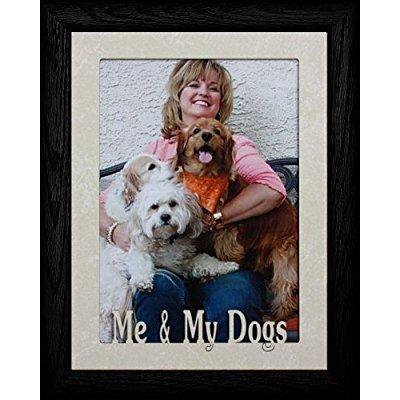 5x7 jumbo ~ me & my dogs ~ portrait cream marble mat with black picture frame ~ gift for dog lovers!