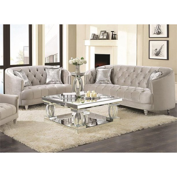 Velvet Tufted Sofa Set In Gray