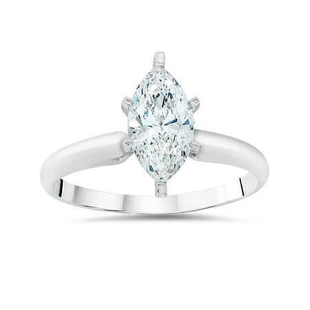 1ct Solitaire Marquise  Diamond Engagement Ring 14K White Gold (Marque Diamond Ring)