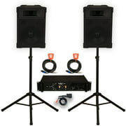 """Podium Pro 12"""" Speakers Stands Amp Cables and Bluetooth PA DJ Karaoke TRAP12SET2B"""