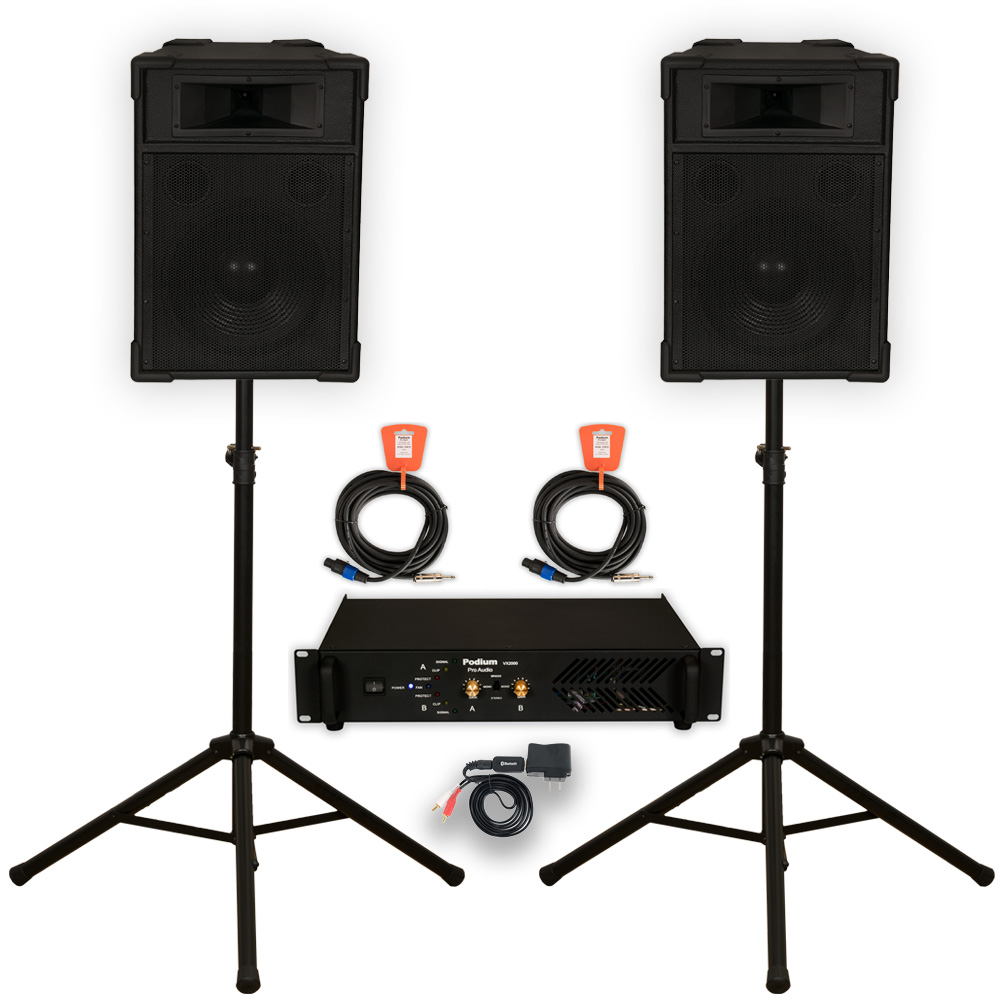 "Podium Pro 12"" Speakers Stands Amp Cables and Bluetooth PA DJ Karaoke TRAP12SET2B"