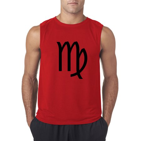 Virgo Sign - Trendy USA 953 - Men's Sleeveless Virgo Symbol Zodiac Sign The Maiden Small Red