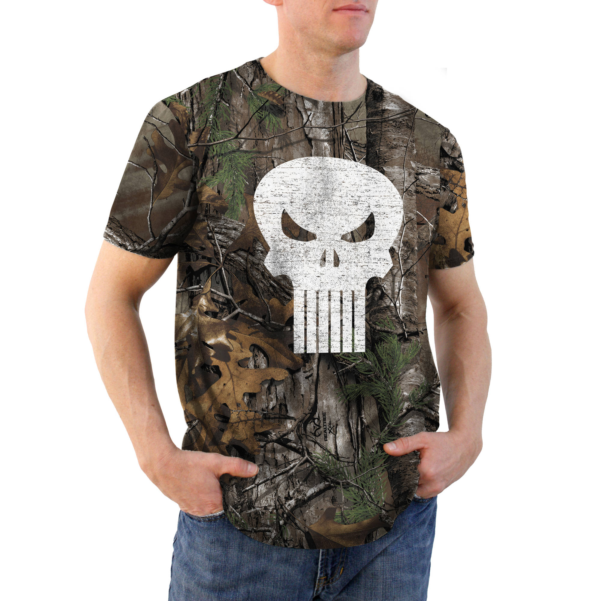 Punisher Color Icon Realtree Camo Big Men's Graphic Tee, 2XL