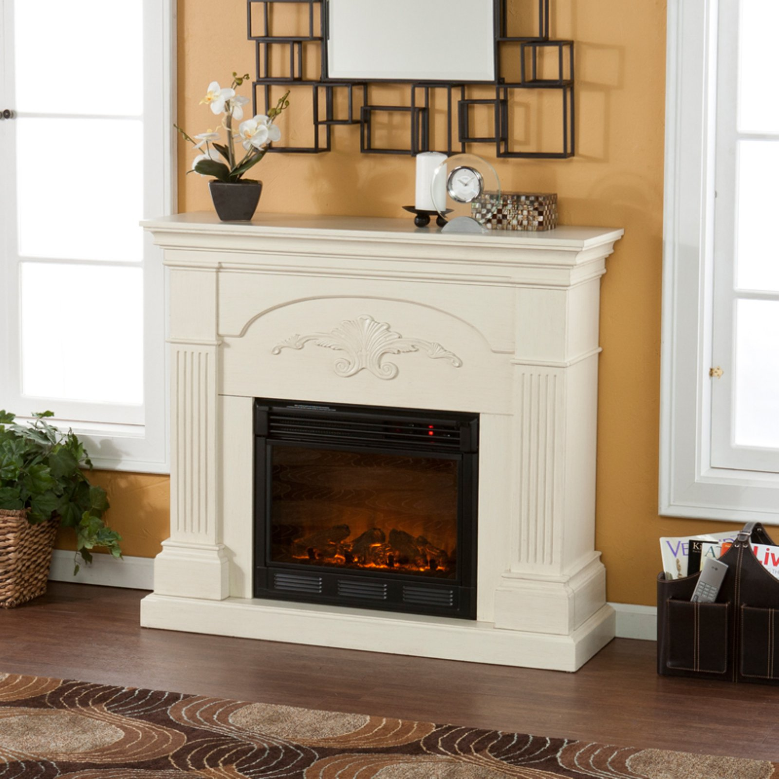 Southern Enterprises Sicilian Harvest Ivory Electric Fireplace by Holly & Martin