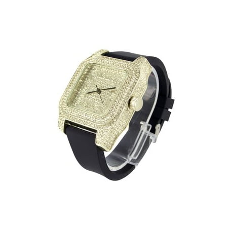Mens Fully Iced Out Yellow Finish Unique Techno Pave Joe Rodeo Lab Created Cubic Zirconia Watch