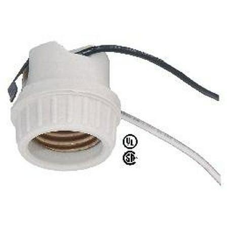 Porcelain Lampholder - Medium Base Porcelain Snap-In Lamp Holder Socket, Medium Base Porcelain Snap-In Lamp Holder Socket By B&P Lamp
