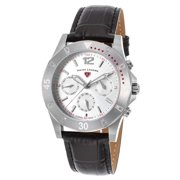 16016Sm-02 Paradiso Diamonds Multi-Function Black Leather Silver-Tone Dial Ss Watch