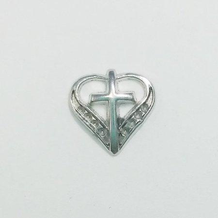1 PC - Cross Inside Heart Rhinestone Silver Floating Locket Charm F0332