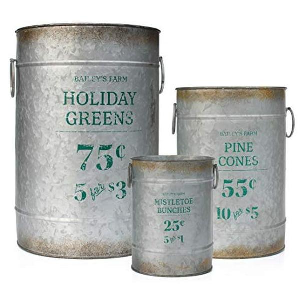 "Galvanized Metal Vase Buckets 2 Piece Set 13/"" Tall Floral Holiday Weddings"