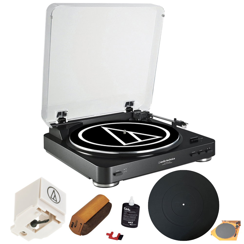Audio-Technica AT-LP60BK-USB Fully Automatic Belt-Drive Stereo Turntable (USB & Analog) + Extra Stylus Needle + Deluxe Cleaning System +Silicone Rubber Universal Turntable Platter Mat