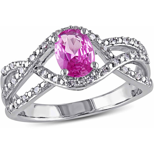 1 Carat T.G.W. Pink Sapphire and 1/6 Carat T.W. Diamond 10kt White Gold Cross-Over Ring