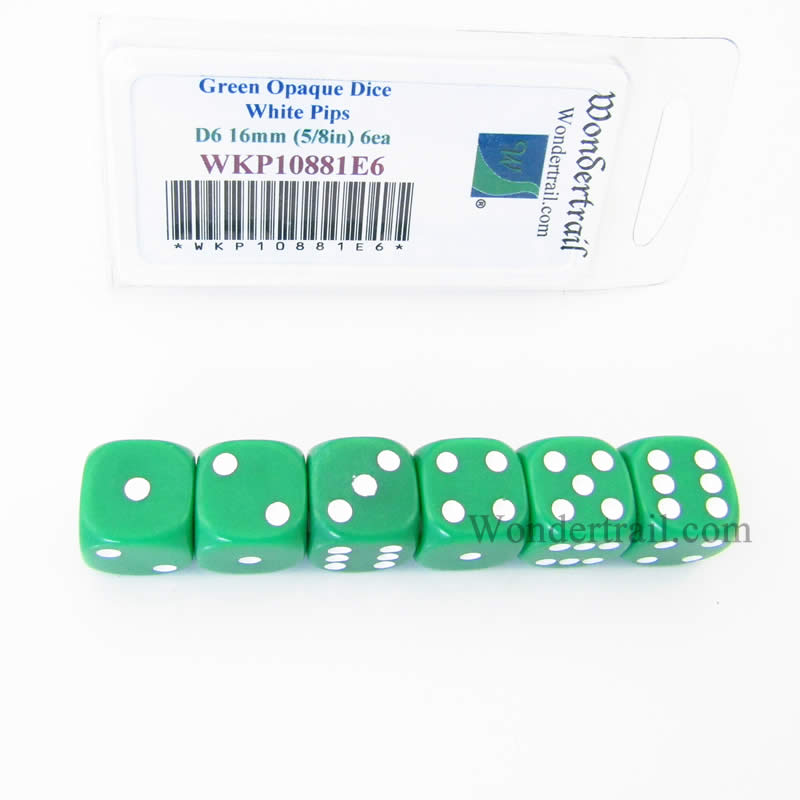 Green Opaque Dice with White Pips D6 16mm (5/8in) Pack of 6 Wondertrail