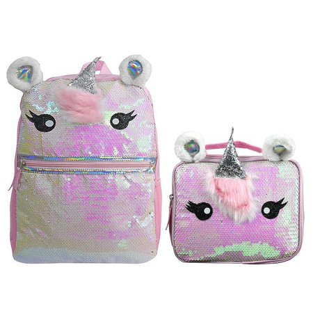 Unicorn Sequin Backpack with Matching Lunch Bag Back to School Bundle for Girls (Pink)](Girls Back To School)
