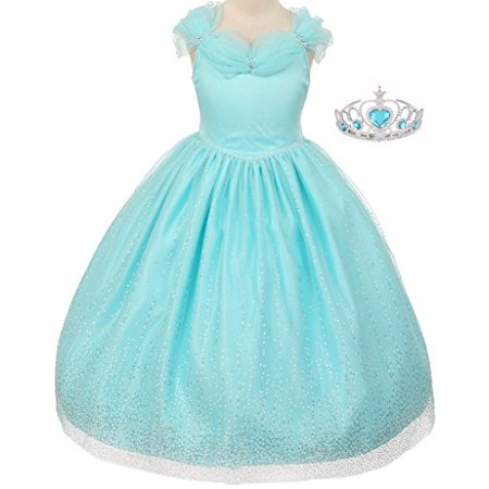 Big Girls' Princess Style Off Shoulder Sparkly Tulle Tiara Flowers Girls Dresses Aqua 10 (T10R34K)
