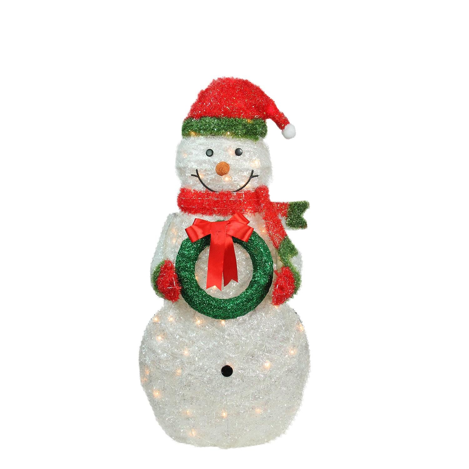 38 lighted tinsel snowman with wreath christmas outdoor decoration