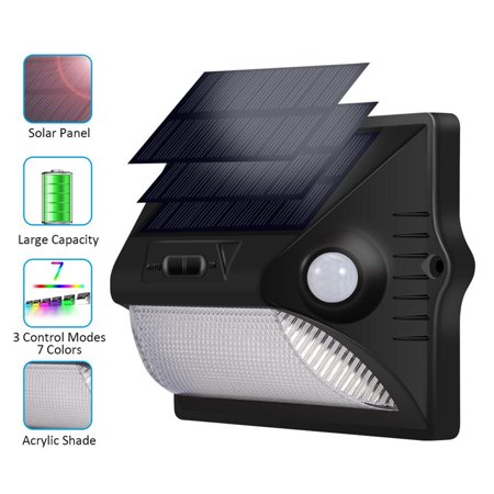 Motion Sensor Light,12 LED Solar Powered Light Dual Head PIR Motion Sensor Outdoor Colorful Security Wall Lamp