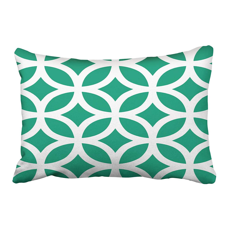 WOPOP Geometric Pattern In Emerald Green Pillowcase Cushion Cover 20x30 inch