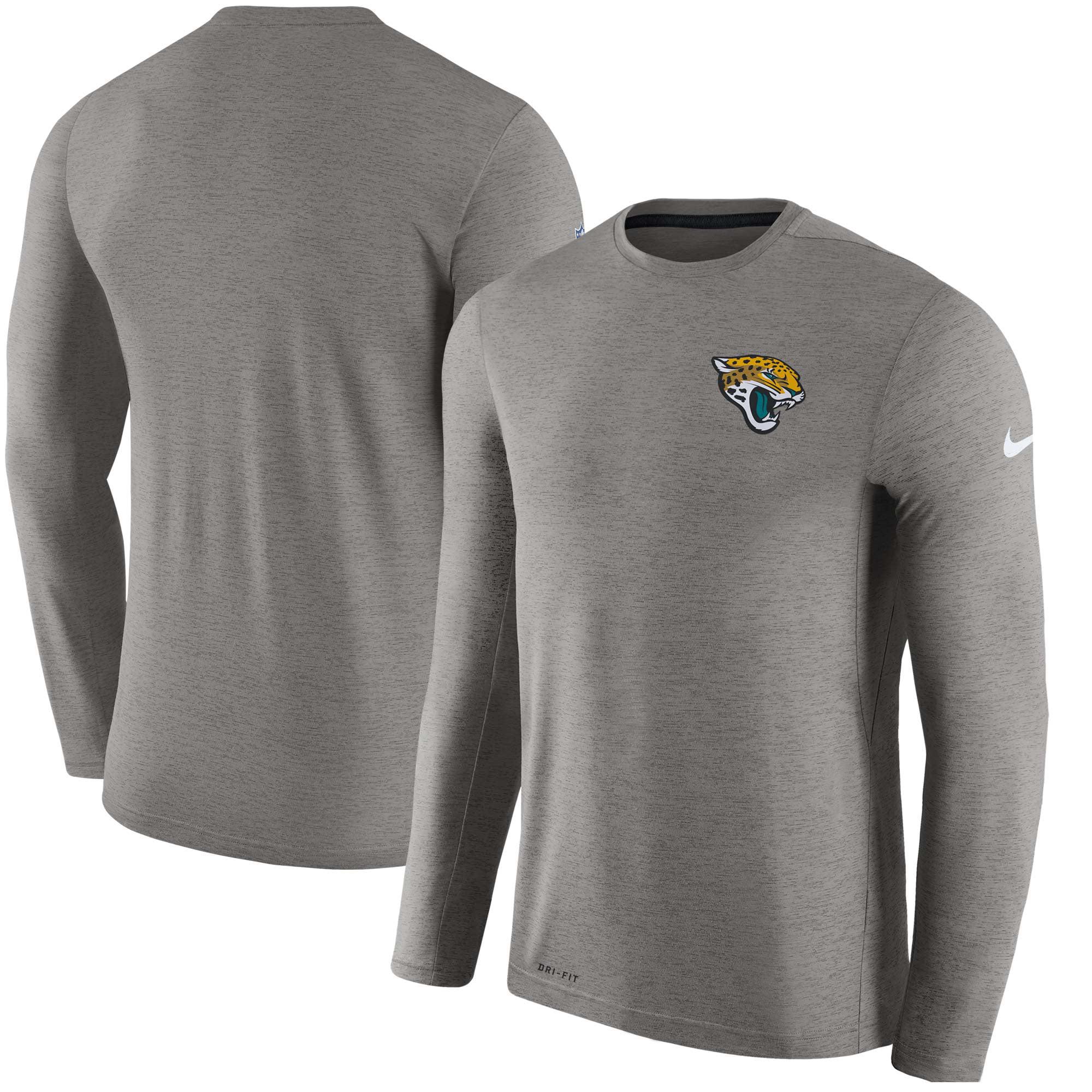 Jacksonville Jaguars Nike Sideline Coaches Long Sleeve Performance T-Shirt - Gray