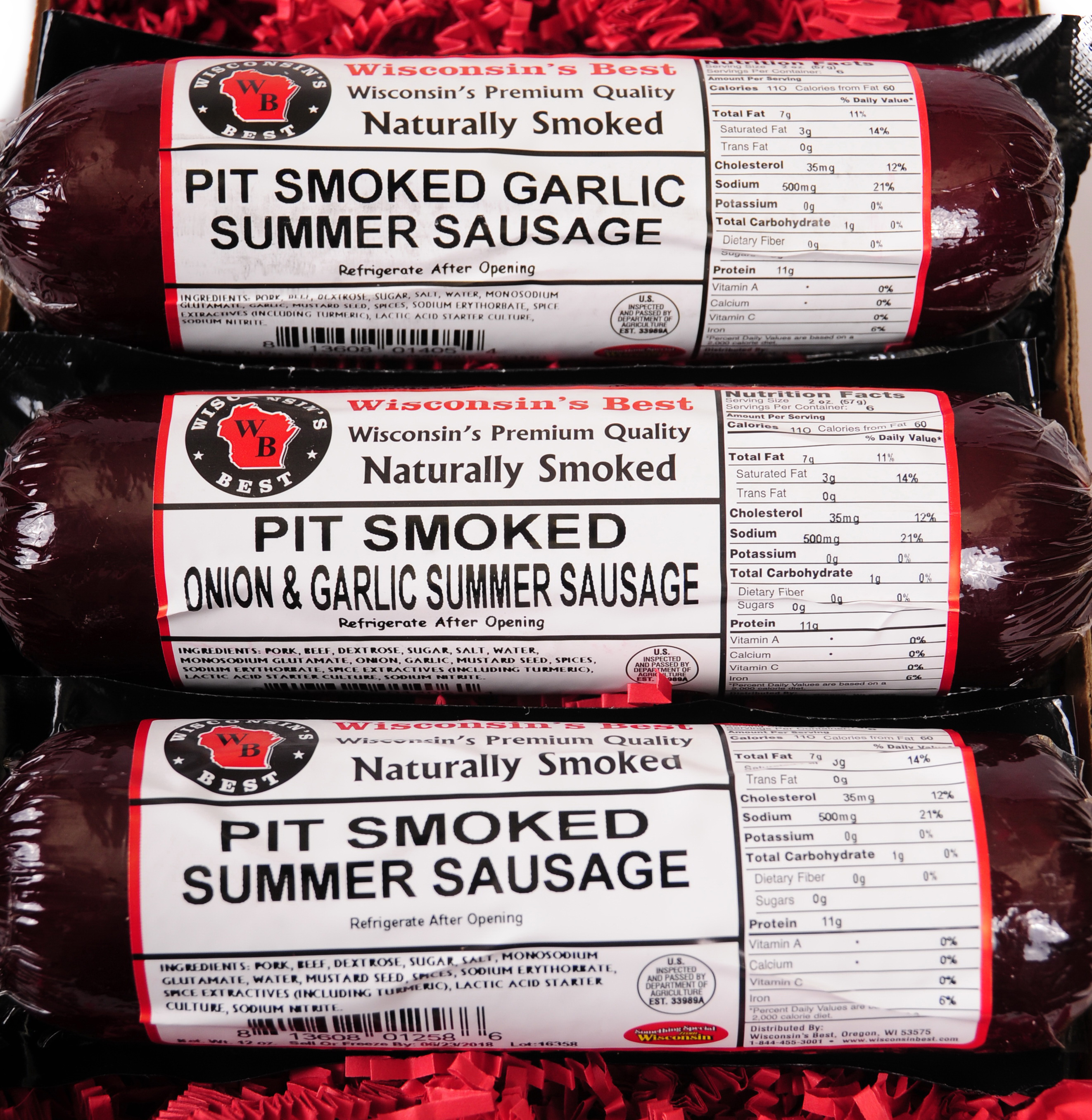 PIT Smoked Summer Sausages SAMPLER Gift WISCONSIN'S BEST features Garlic, Original, Onion... by Wisconsin's Best, LLC