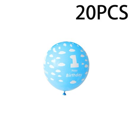 Girls Birthday Party Decor (20Pcs/Pack 1 Year Old Baby Birthday Balloons with Number Printing Decor for Boys Girls Birthday Party)