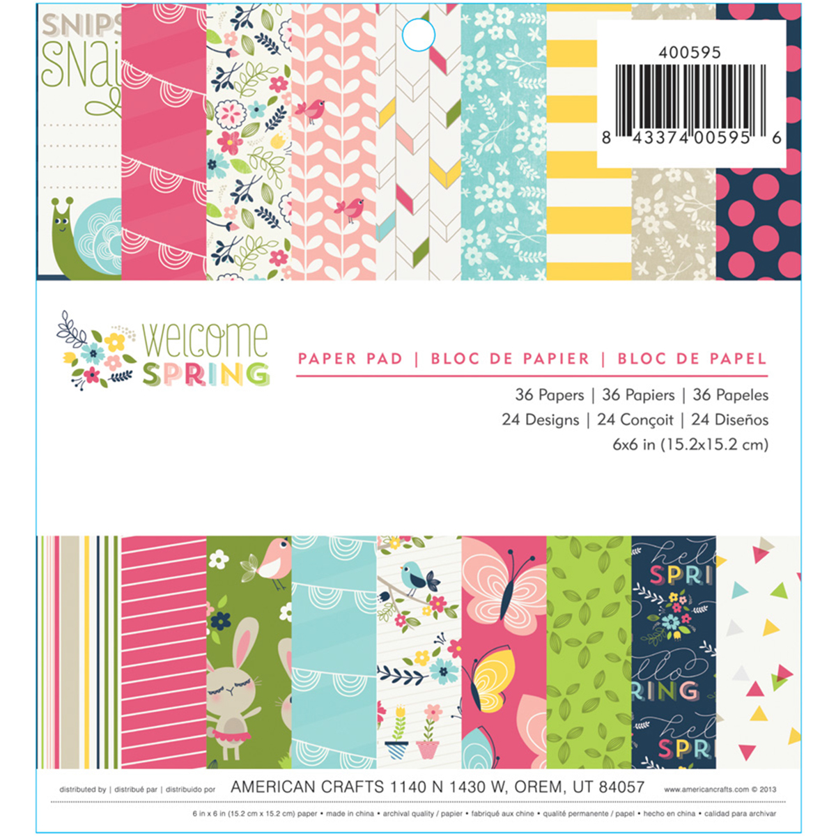 "Imaginisce Single-Sided Paper Pad 6""X6"" 36/Pkg-Welcome Spring, 24 Designs/1-2 Each"