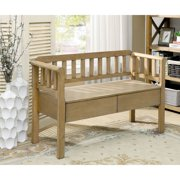 Furniture of America  Trenton Transitional Solid Wood Entryway Slatted Bench Weathered Natural Natural Finish, Wood Finish