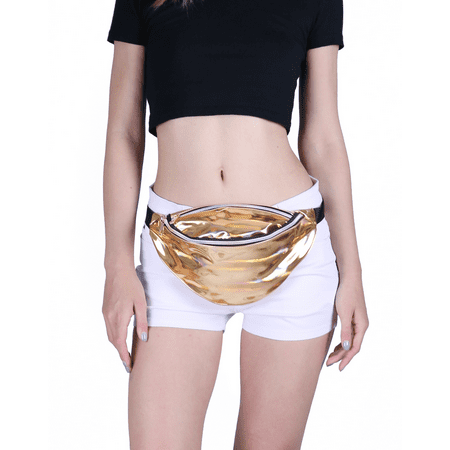 HDE Shiny Retro Fanny Pack Rave Festival Metallic Hologram Bum Bag Waist Pouch (Gold)