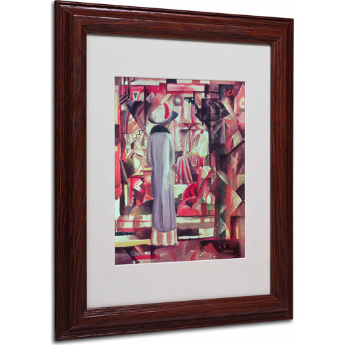 "Trademark Fine Art ""Woman In Front of a Window"" Matted Framed Art by August Macke, Wood Frame"