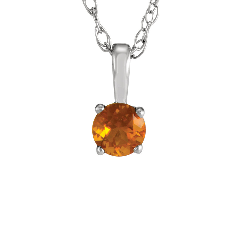 Youth 3mm Round Citrine Necklace in 14K White Gold, 14 Inch by Black Bow Jewelry Company