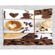 Kitchen Tapestry Coffee Themed Collage Of Beans Mugs Hot Foamy Drink With A Heart Macro Aroma Photo Wall Hanging For Bedroom Living Room Dorm Decor