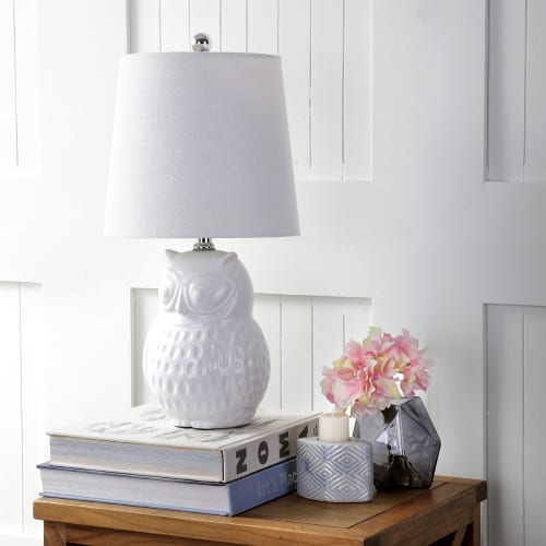 "Hoot 20.5"" Ceramic Mini LED Table Lamp, White Owl by JONATHAN Y"