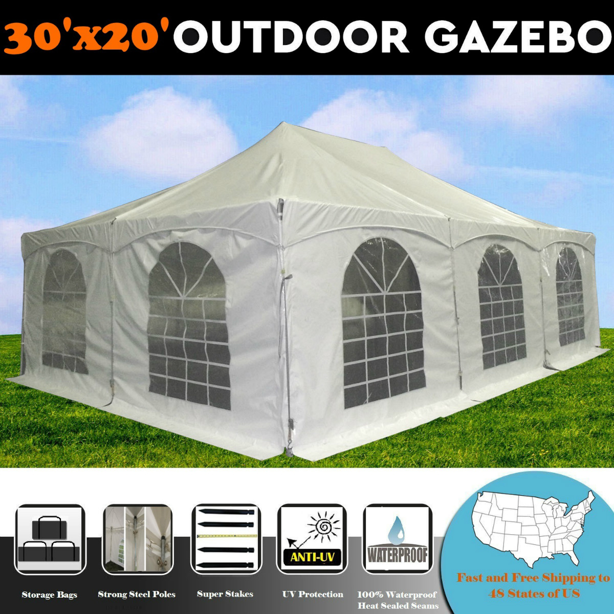 30'x20' PVC Pole Tent - Party Wedding Canopy Shelter - By...