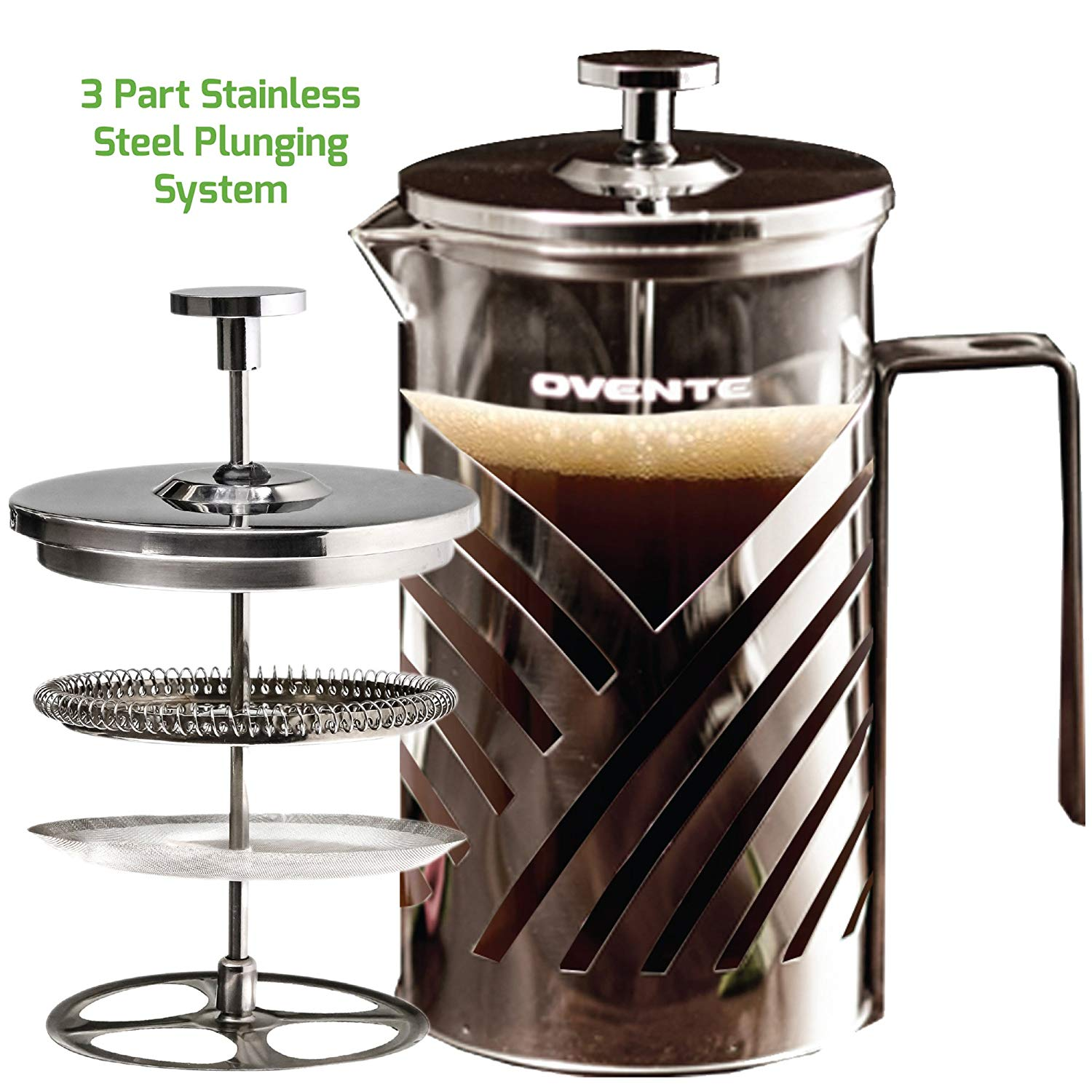 Ovente French Press Cafeti?re Coffee and Tea Maker, High-Grade Stainless Steel, Nickel Brushed, Heat-Resistant Borosilicate Glass, 27 oz (800 ml), 6 cup, Dazzling Diagonal Design, FREE Measuring Scoop