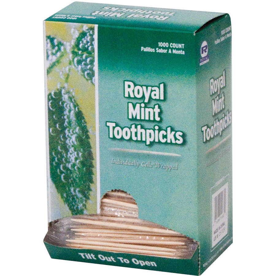 Royal Mint Cello-Wrapped Wood Toothpicks, 1000 count, (Pack of 15)