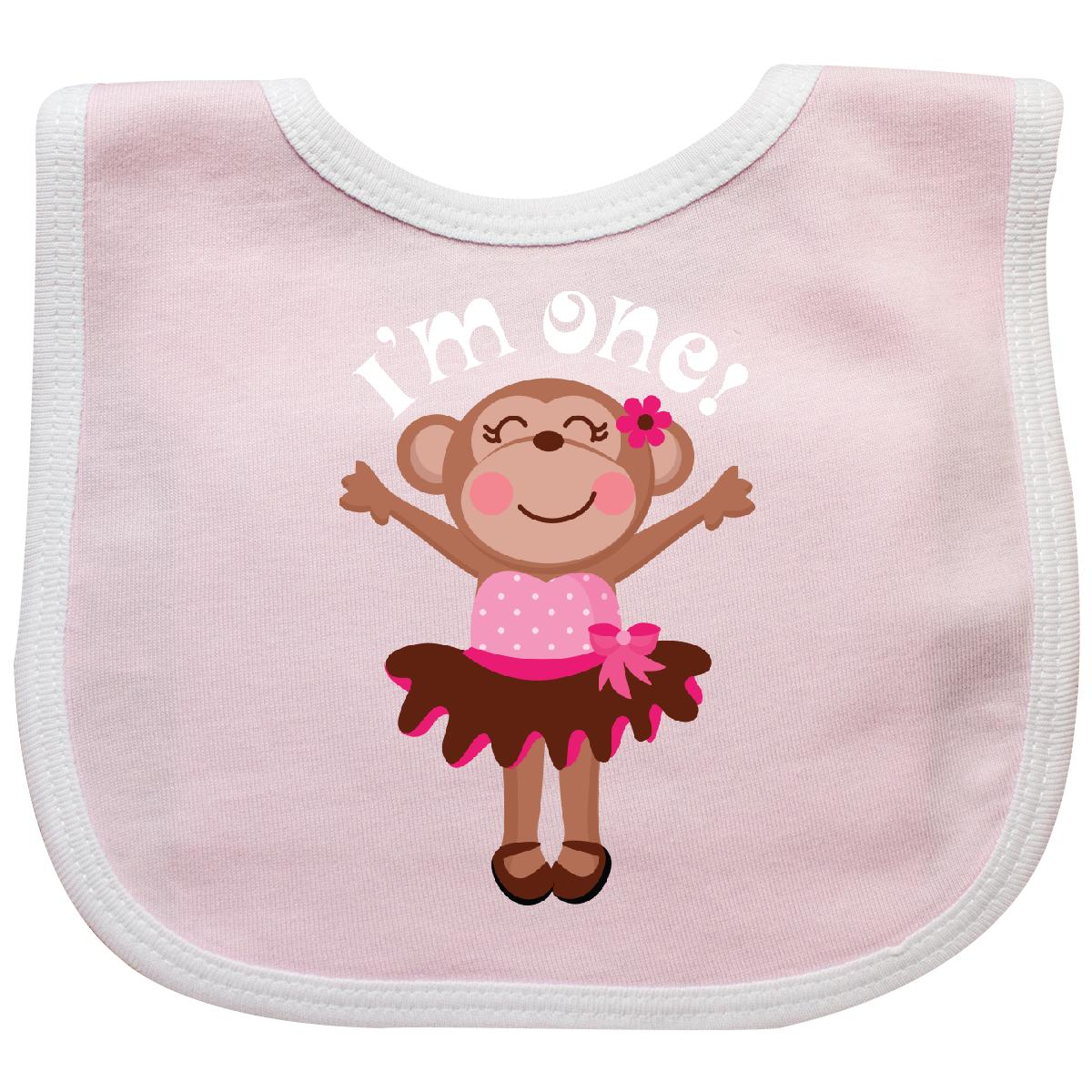 Inktastic Monkey 1st Birthday Gift For Girl Baby Bib Babys Kids Infant Animal 1
