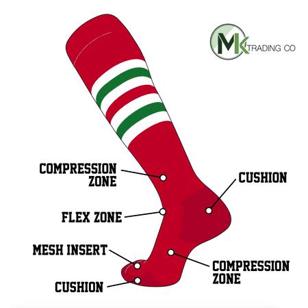TCK Elite Baseball Football Knee High Striped Socks (I) Red, White, Kelly Green (L) (Red White Stripe Socks)