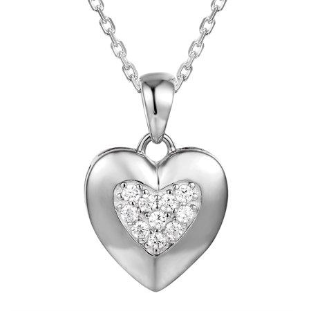 Sterling Silver Heart Pendant Solitaire Simulated Diamond Free 18 Inch Necklace New