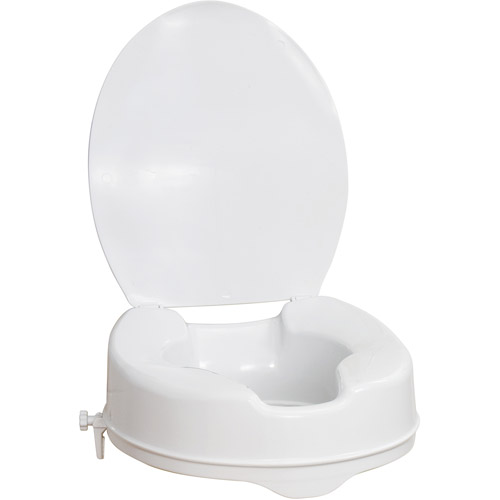 AquaSense Raised Toilet Seat with Lid, White, 4 Inch