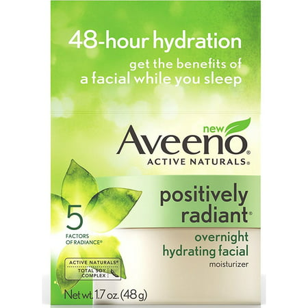 3 Pack - AVEENO Active Naturals Positively Radiant Overnight Hydrating Facial Moisturizer 1.7 oz
