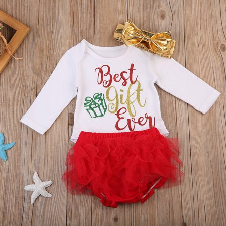 Cute Infant Baby Girl Xmas Outfits Gift Romper+Tutu Pants+Headband Party Clothes - Girls Christmas Outfits Boutique