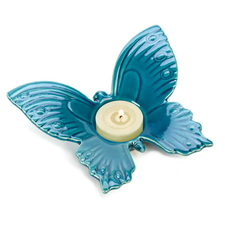 Blue Candle Holders (Blue Tealight Candle Holders, Butterfly Ceramic Tealight Holder Small)