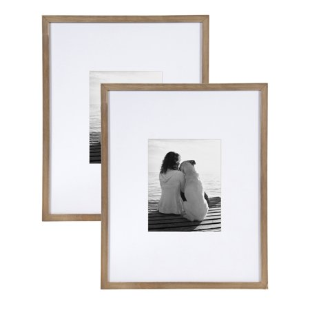DesignOvation Gallery Wood Photo Frame Set for Customizable Wall Display, Rustic Brown 16x20 matted to 8x10, Pack of 2 (Sitting 16x20 Photo)